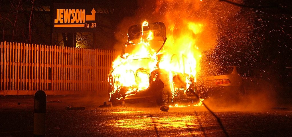 fire, property damage, accident, BMW,